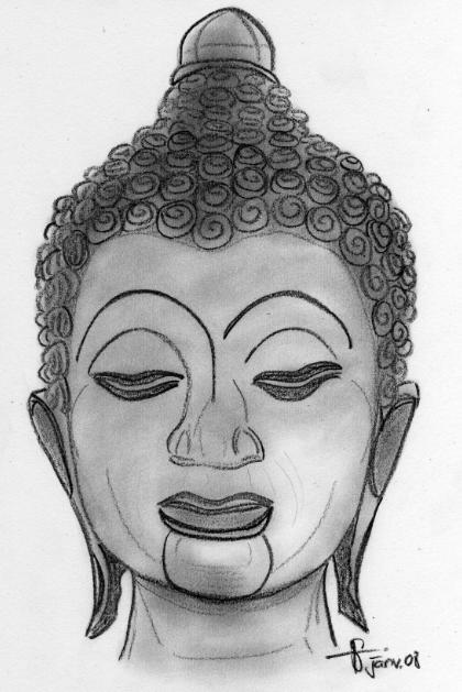 dessin a la sanguine portrait tete de bouddha